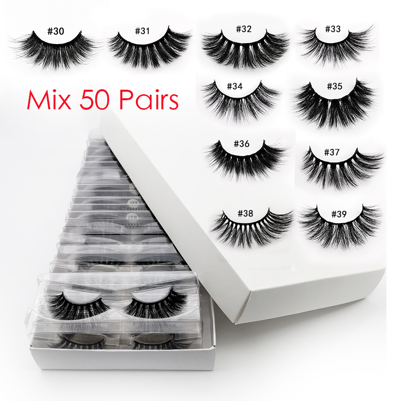 50pcs Wholesale False Eyelashes 3d Mink Lashes Natural Mink Eyelashes Fluffy False Lashes Mink Cilios Wholesale Eyelashes