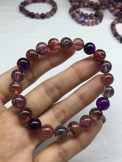 Genuine Natural Super Seven 7 Lepidocrocite Quartz Rutilated Crystal Round Beads Bracelet 8.7mm For Women Men AAAAAA Certificate