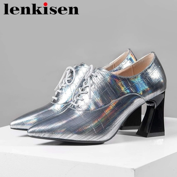 Lenkisen 2020 new arrival cow leather pointed toe high heels casual shoes women European design office lady lace up pumps L10