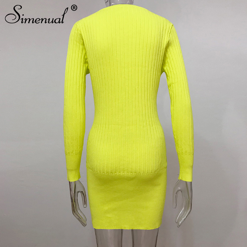 Simenual Neon Color Knitted Autumn Dress Women Long Sleeve 2019 Bodycon Dresses Ribbed Fashion Sexy Lady Mini Dress Winter Basic in Dresses from Women 39 s Clothing