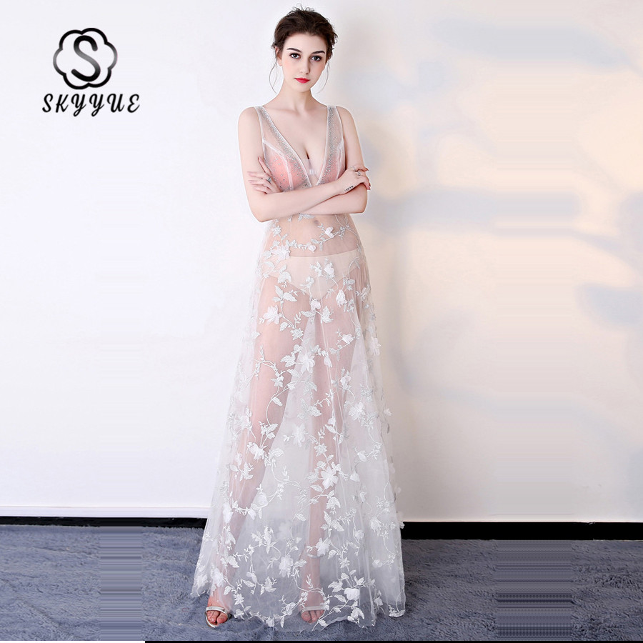 Skkyue Evening Dress Long Embroidery Flowers Robe De Soiree Floor Length Evening Dresses For Women 2019 V-Neck Formal Gowns <font><b>H002</b></font> image