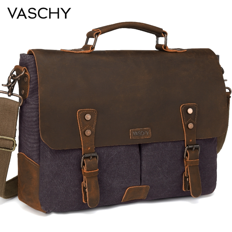 VASCHY  Messenger Bag Men Leather Genuine Leather Canvas 15.6inch Laptop Briefcase Crossbody Satchel Bag For Men