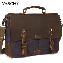 VASCHY  Messenger Bag Men Leather Genuine Canvas 15.6inch Laptop Briefcase Crossbody Satchel for