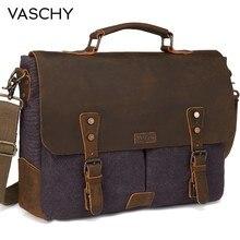 VASCHY Messenger Bag Men Leather Genuine Leather Canvas 15.6inch Laptop Briefcase Crossbody Satchel Bag for Men(China)