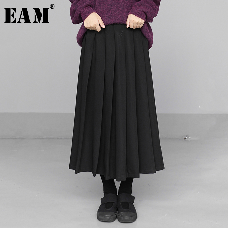 [EAM] High Elastic Waist Black Brief Pleated Split Temperament Half-body Skirt Women Fashion Tide New Spring Autumn 2020 1N605