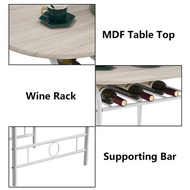 80x53x76cm Oak White Breakfast Table Set  5