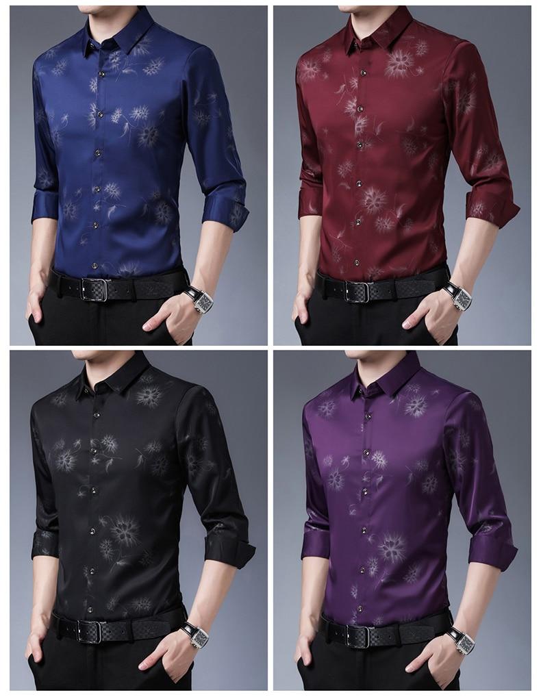H14fb59bd9d384d3c927dc301c659cf0d5 2020 Brand Long Sleeve Men Social Shirt Streetwear Casual Dandelion Shirts Dress Mens Slim Regular Fit Clothes Fashions 80503