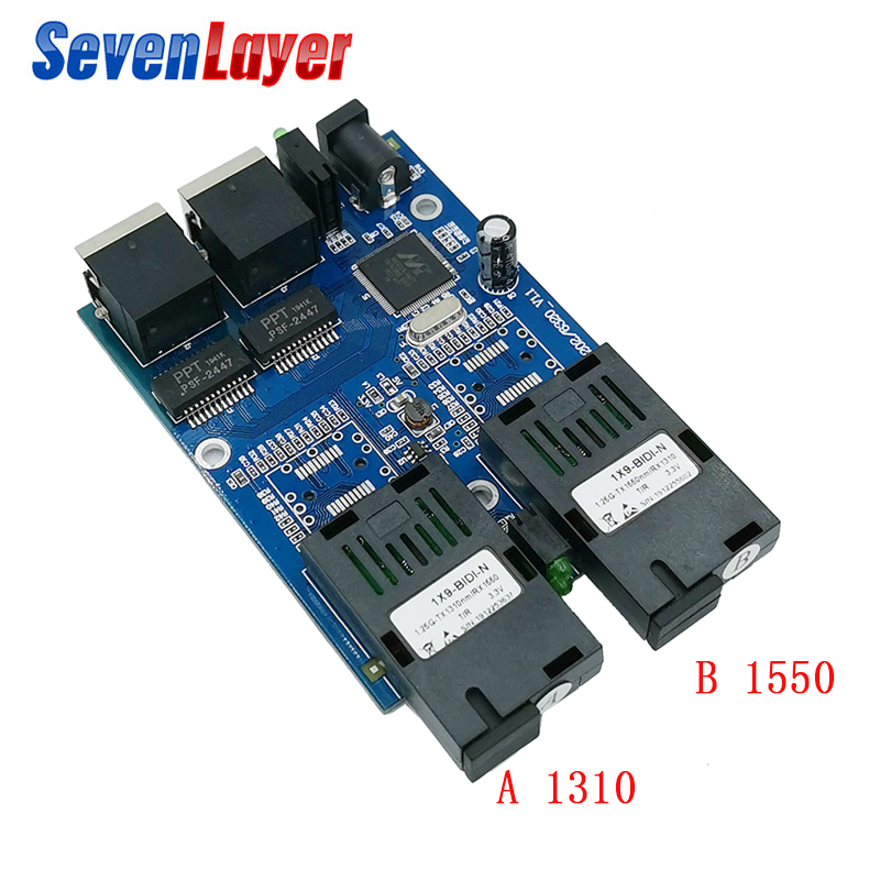 10/100/1000M Ethernet Fiber Optical  2 SC Fiber Port  2 RJ45 Media Converter Gigabit Ethernet Switch 2 RJ45 UTP Board PCB