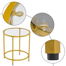 [50 x 50 x 55]cm Simple Single Layer Round Frame Glass Surface Coffee Table Side Table End table 50 Round Gold
