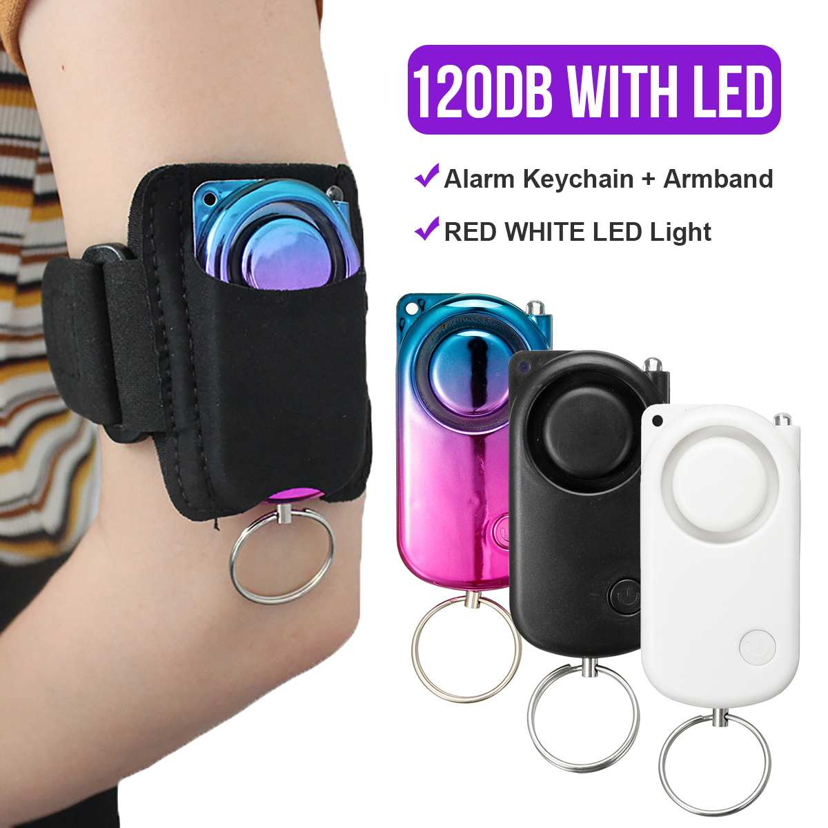 120dB Personal Security Alarm Anti-Wolf Device Protection For Women Alarm New Armband Ring With LED Light Lightweight Portable