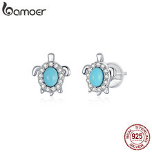 bamoer Authentic 925 Sterling Silver Turtle Stud Earrings for Women Statement