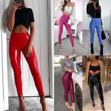 Брендовые новые женские брюки с завышенной талией, облегающие блестящие леггинсы из ПУ кожи, брюки, Сексуальные облегающие однотонные модн...