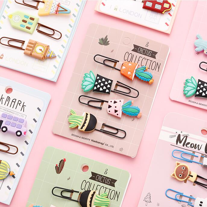 New 8pcs/lot Kawaii Animal Cat Pineapple Owl Metal Paper Clip Decorative Bookmark Photo Message Cards Clips School Stationery