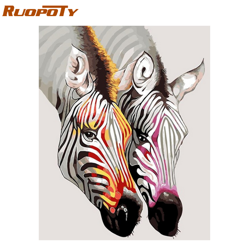 RUOPOTY Frame Diy Painting By Numbers Zebra Animals Kit Hand Painted Oil Painting Canvas Picture Paint By Numbers For Home Decor