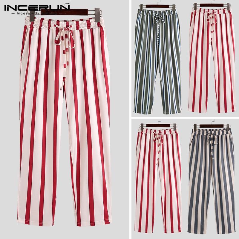 INCERUN Men Business Leisure Wide Striped Lacing Pencil Pants Straight Leg Fitness Joggers Elastic Waist Sweatpants Hombre 2019