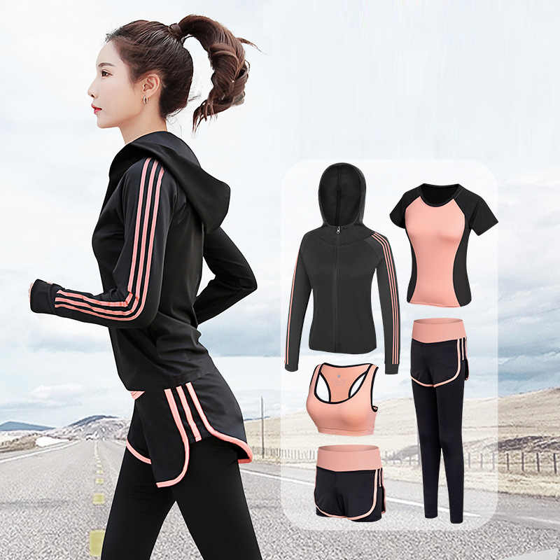 High waist pants + hooded jacket + T-shirt + bra + pants ladies yoga 5 piece suit running quick-drying fitness sportswear suit