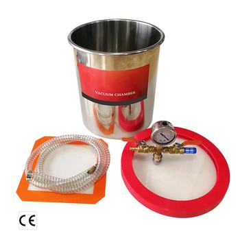 Komora próżniowa ze stali nierdzewnej 3 5 6 galonów z pompą próżniową 5cfm RS-2 beczka odpieniająca do żywicy epoksydowej AB klej 12L 20L 24L tanie i dobre opinie NewLezhen CN (pochodzenie) Laboratoryjne urządzenia termostatyczne vacuum chamber Resin glue defoaming 220V 50Hz 110V 60Hz