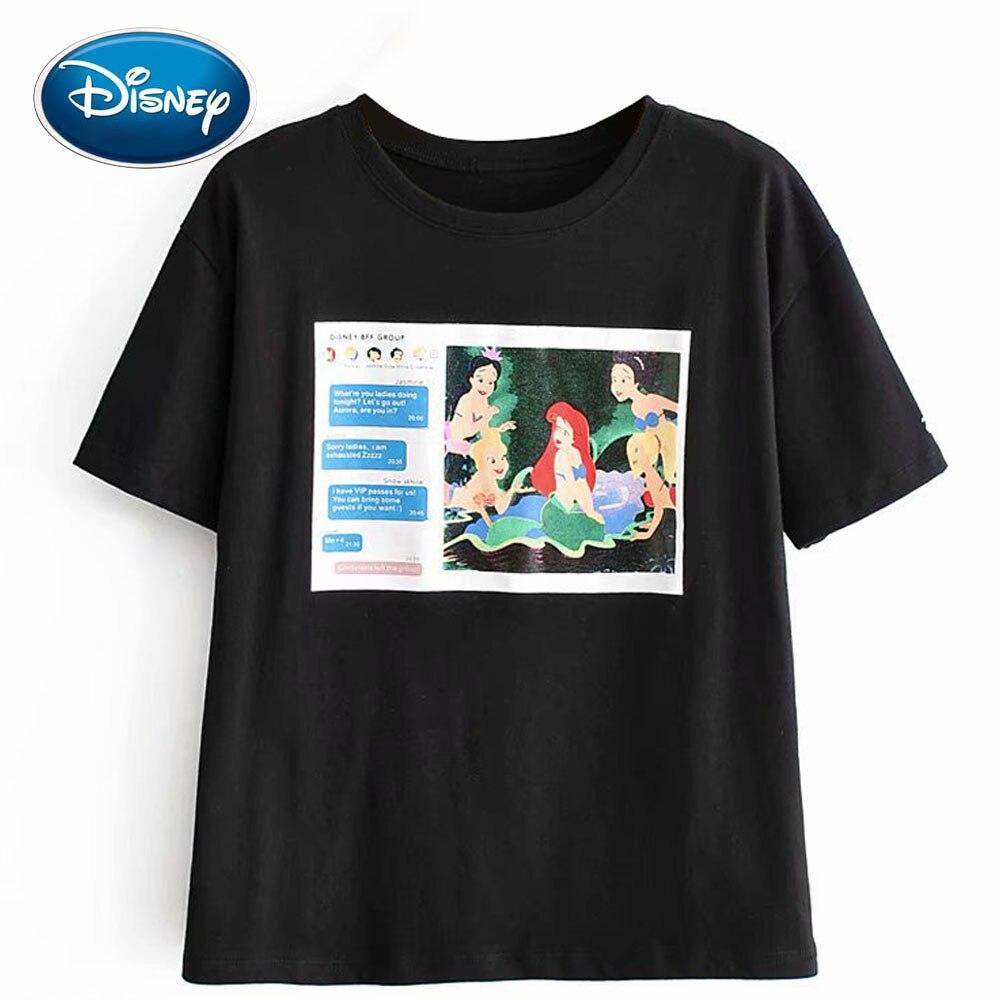 Disney Stylish The Little Mermaid Letter Cartoon Print T-Shirt O-Neck Pullover Short Sleeve Casual Fashion Women Black Tee Tops