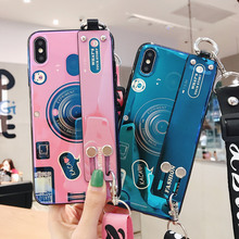 Girls shoulder strap camera phone cases for iphone 8 6 6s 7 plus xr x xs max lanyard wrist stand blu-ray laser cover coque
