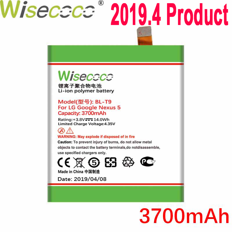 Wisecoco 3700mAh <font><b>BL</b></font>-<font><b>T9</b></font> <font><b>Battery</b></font> For LG Google Nexus 5 D820 D821 E980 Phone In Stock Latest Production <font><b>Battery</b></font>+Tracking Number image
