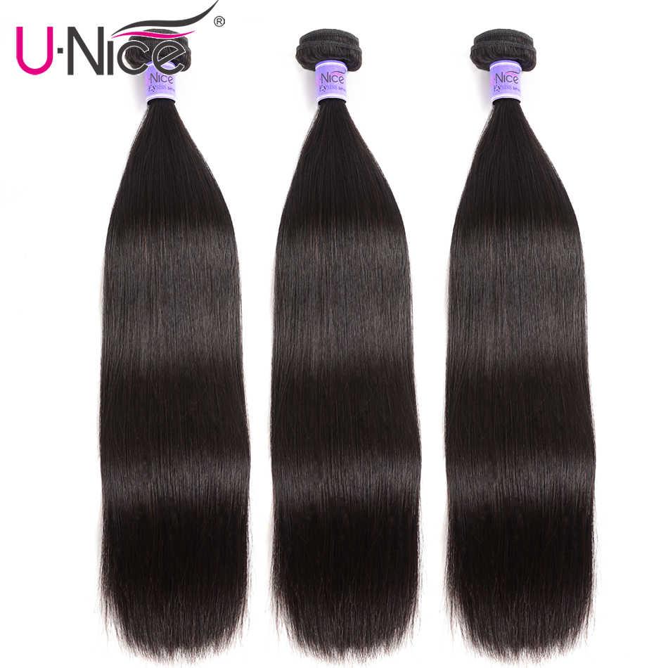 UNice Hair Kysiss Series Indian Straight Hair 3 Bundles Weave Natural Color Unprocessed Virgin Human Hair Bundles