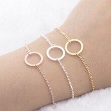Geometry Round Circle Bracelet Eternity Friendship Bracelets Men Women Best Friend Gifts Rose Gold Bijoux Femme