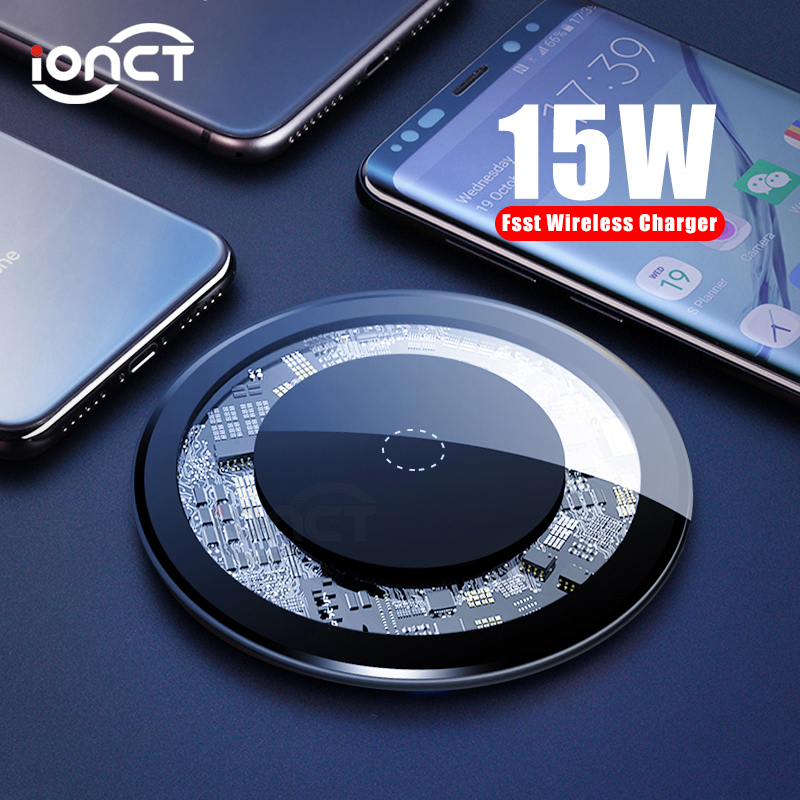 iONCT 15W Fast Wireless Charger for iPhone X XS 11pro Visible USB Qi Charging pad for Samsung S8 S9 Note 9 Phone wirless charger