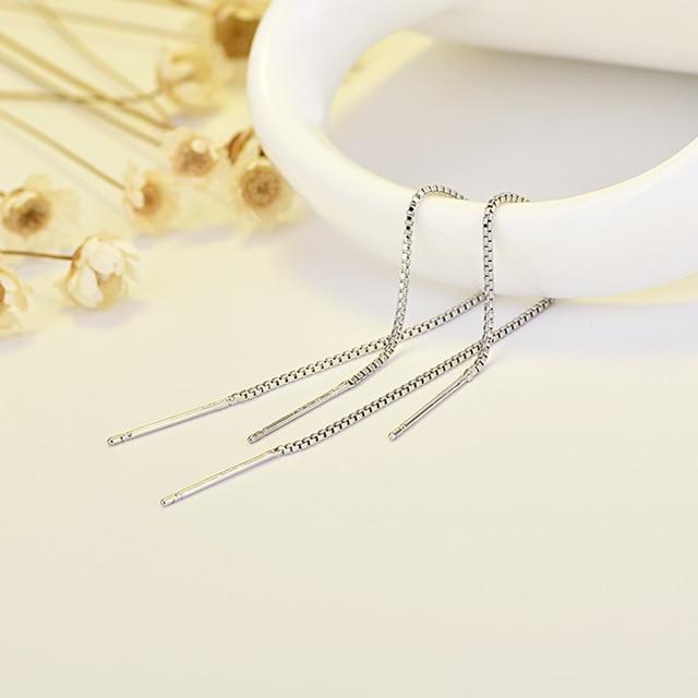 1pair Exquisite Line Thread Threader Dangle Earrings Tassel Wire Bars Chain Earrings Long Drop Earrings For