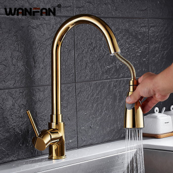 Kitchen Faucets Gold Single Handle Pull Out Kitchen Tap Single Hole Handle Swivel 360 Degree Water Mixer Tap Mixer Tap N22-035