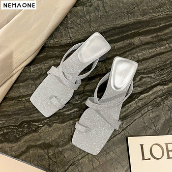 2020 New The High Quality Glitter Leather Women Slippers Erogenous Square Toe 6cm Heel Women Shoes Ladies Summer Outdoor Slipper
