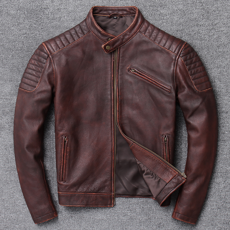 YR!Free Shipping.sales.classic Motor Biker Genuine Leather Jacket.cool Slim Cowhide Coat.men Fashion Vintage Jacket.plus Size