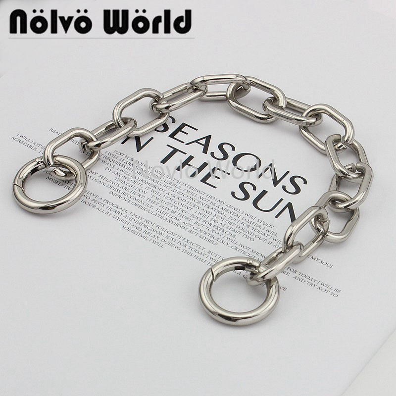 1 Piece Test, 30cm, Silver Metal Chain Handle With 20mm Spring Gate Rings Handbag Chain Handle Pull Hardware Accessories