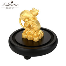 Chinese zodiac Rat Lucky Wealth Ornament Fengshui Collect Wealth Decoration Busniess Gifts The Year Rat Mouse Desk Table Crafts(China)