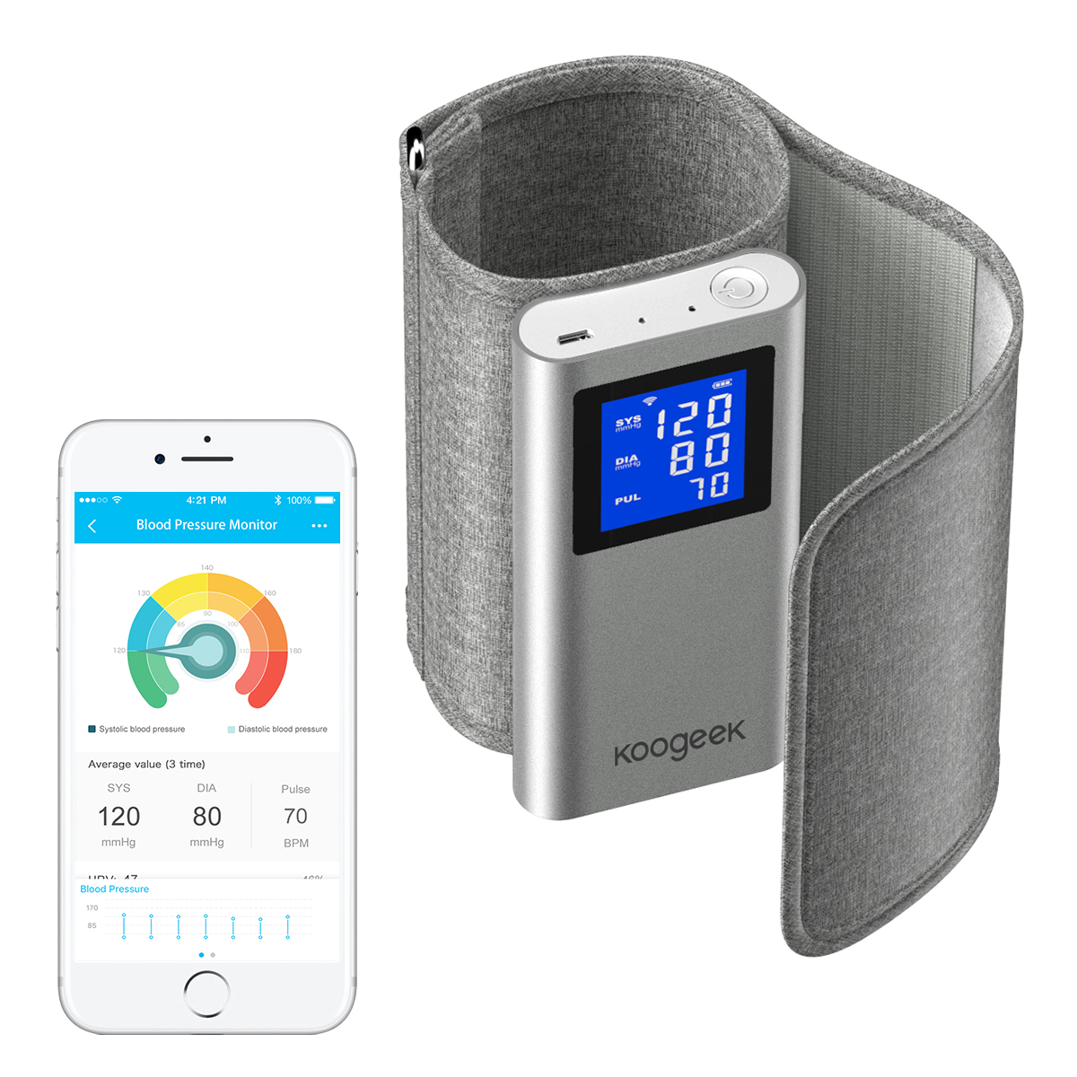 Koogeek Approvato DALLA FDA Smart Monitor di Pressione Sanguigna del Braccio Superiore di Rilevamento della Frequenza Cardiaca per iOS Android Automatico Ricaricabile Uso Domestico-in Pressione sanguigna da Bellezza e salute su  Gruppo 1