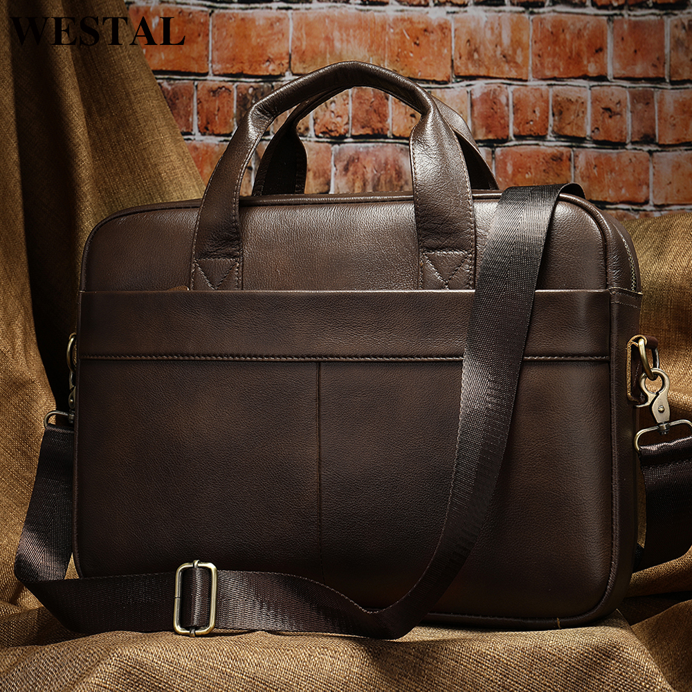 WESTAL Men's Bag Genuine Leather Briefcase Men Laptop Bag Leather Office Bags for Men Bags for Document Business Briefcase Male image
