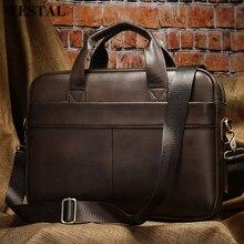 WESTAL Men's Bag Genuine Leather Briefcase Men