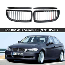 1 Pair Gloss Matt Black M Color 2 Line Front Kidney Grille Grill Double Slat For BMW E90 E91 3 Series 2005 2006 2007 2008