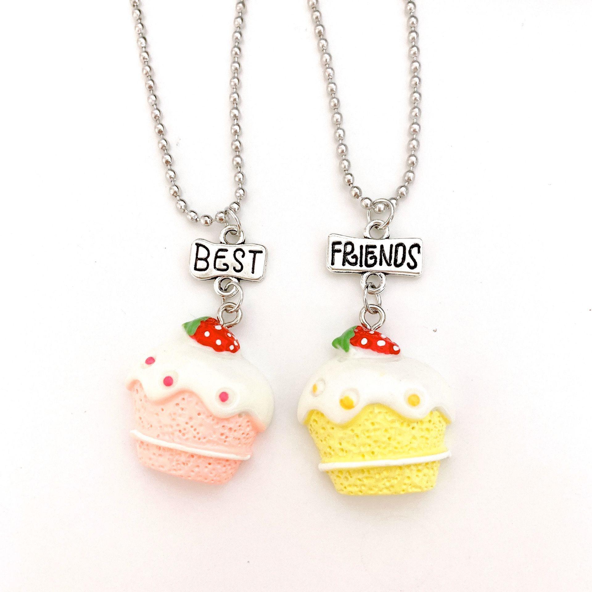 Yellow Pink Strawberry Cake Food Pendant Bff Necklace Children Best Friends 2 Boys Girls Friendship Jewelry Birthday Gift Pendant Necklaces Aliexpress
