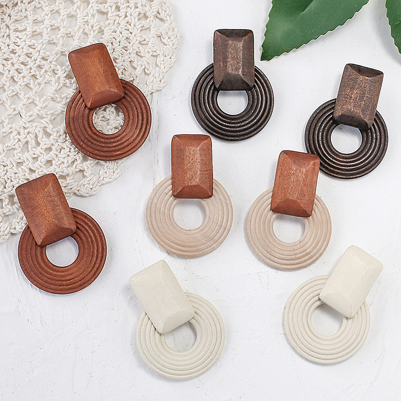 ANESOA Handmade Ethnic Wooden Drop Earrings For Women Fashion Multicolor Wood Statement Pendant Earrings Costume Jewellery Gift