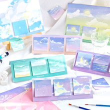 Journamm 60pcs Meteor Colorful Watercolor Painting Memo Pads Loose Leaf Notepad Diary Creative Office School Supplies Memo Pads