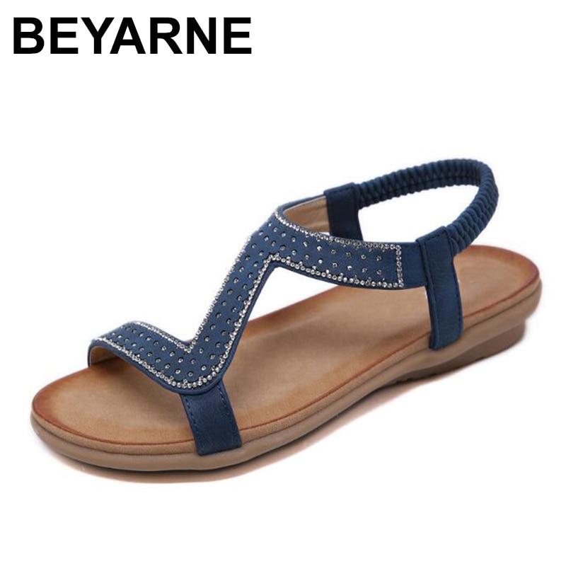 BEYARNEPlus Size Rome Sandals For Women Summer Beach Casual Shoes Female Retro Gladiator Sandal Elastic Band Low Heel Bohemia