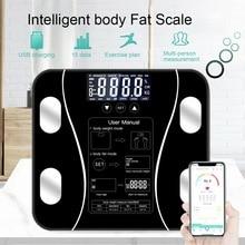 Весы для тела и жира, умный электронный светодиодный весы для ванной, Bluetooth, приложение для Android или IOS
