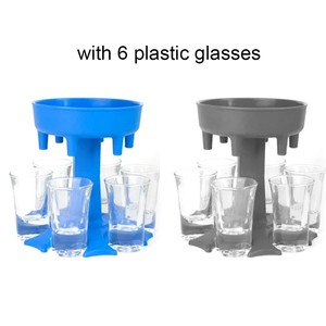 Real Stock 6 Shot Glass Dispenser With 6 Plastic Glasses Holder Caddy Liquor Dispenser Bar Accessory Drinking Games Dropshipping