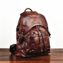 Bolso grande de cuero genuino curtido para hombre, mochila informal retro de piel de vaca, hecho a mano