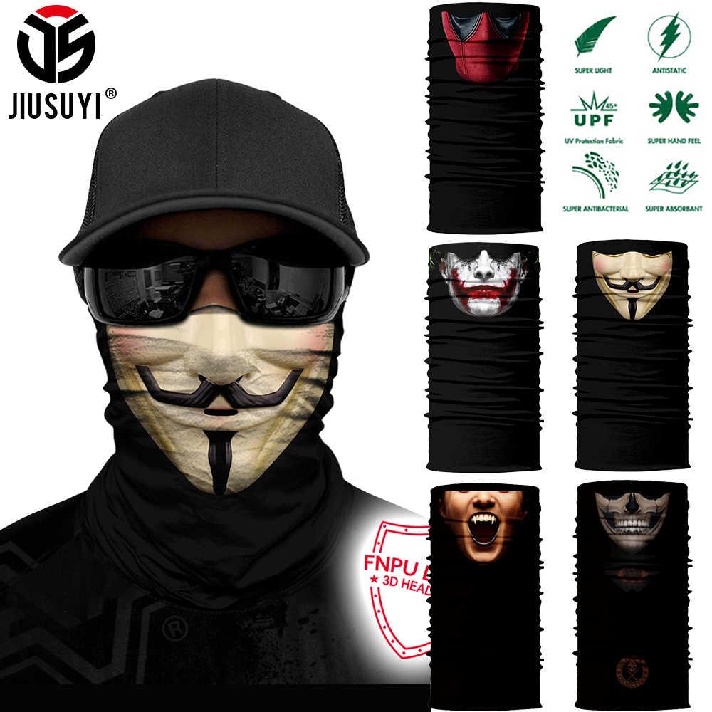 3D sans couture Bandana multifonction Tube magique foulard en soie Vampire démon crâne fantôme bouclier visage couverture bandeau écharpe hommes femmes