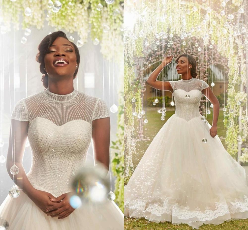 2020 African High Collar Beading A Line Wedding Dresses Short Sleeves Tulle Applique Lace White Plus Size Bridal Gowns Custom