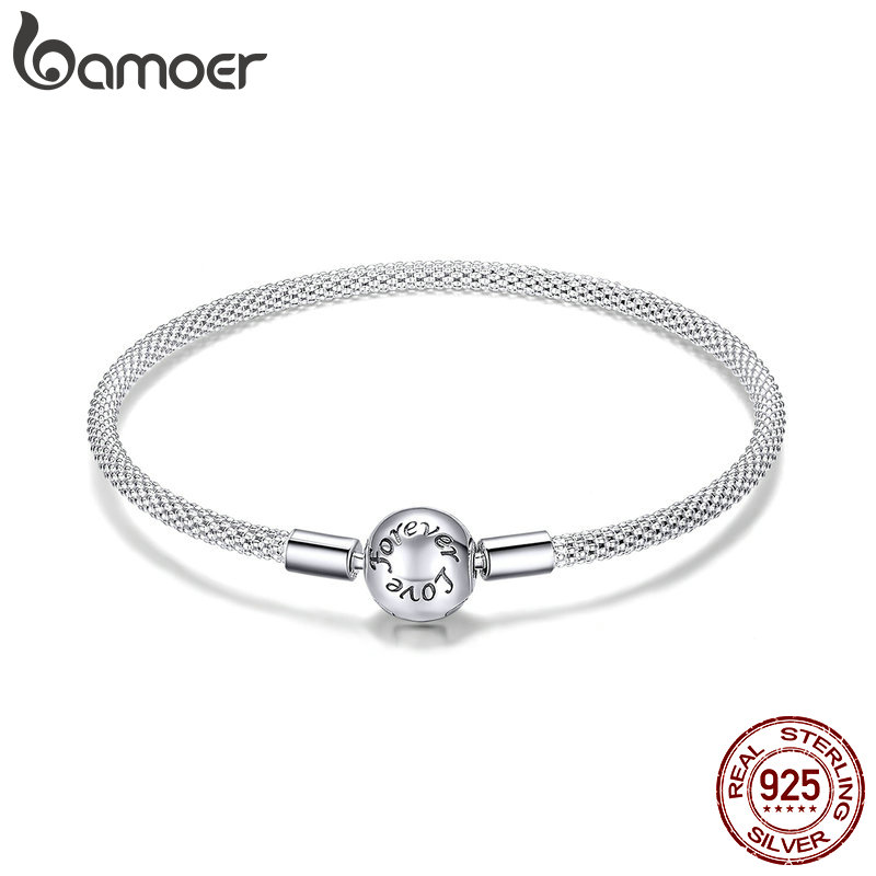 BAMOER Classic 100% 925 Sterling Silver Love Forever Love Snake Chain Bracelets Women Sterling Silver Jewelry 17CM 19CM SCB105(China)