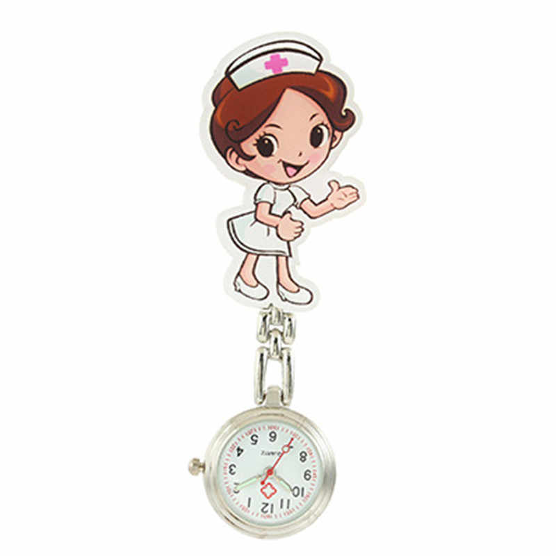간호사 시계 꽃 3D 만화 동물 소녀 숙녀 여성 간호사 시계 남여 의사 의료 FOB 포켓 교수형 클립 시계