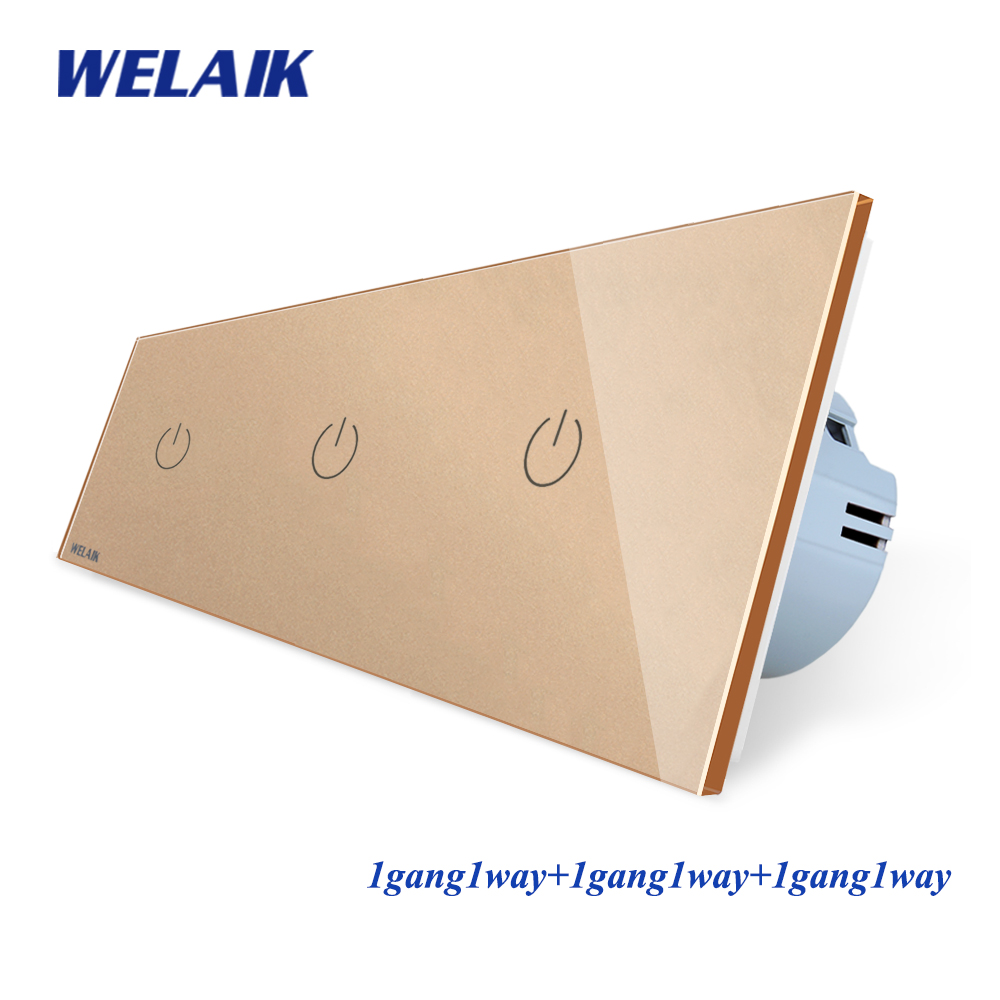 Image 3 - WELAIK Brand 3Frame Crystal Glass Panel  EU Wall Switch EU Touch Switch Screen Light Switch 1gang1way AC110~250V A39111111CW/B-in Switches from Lights & Lighting