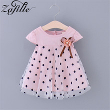 ZAFILLE Girls Summer Dress Dot Baby Girl Clothes Patchwork Toddler Kids Clothes Short Sleeve Girls Dress Princess Birthday Dress zafille new baby girl clothes summer dress for girls patchwork mesh girls dress short sleeve toddler kids clothes princess dress